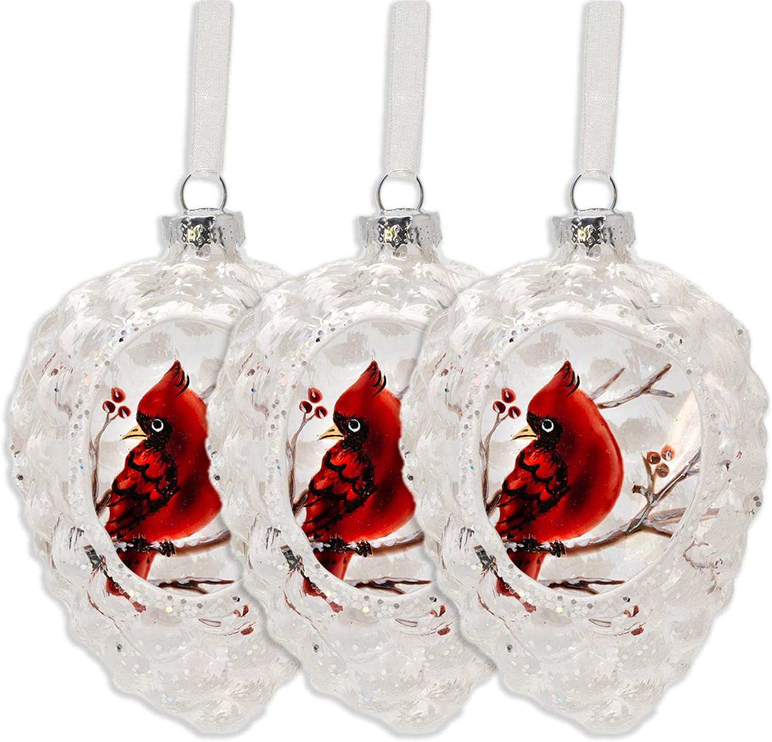 BANBERRY DESIGNS Cardinal Christmas Ornaments - Set of 3 Glass Ornament Set Pinecone Shape - Hand Painted Red Winter Cardinals on a Branch Design with Berries - Holiday Ornament Sets Boxed - 4 Inches