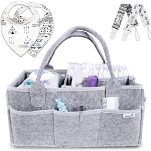 Putska Baby Diaper Caddy Organizer: Portable Holder Bag for Changing Table and Car