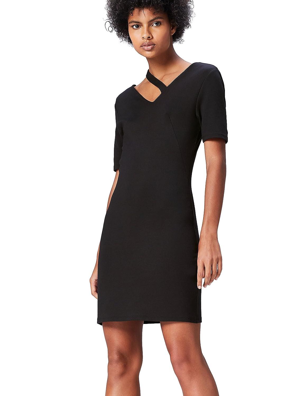TALLA 42 (Talla del Fabricante: Large). Marca Amazon - find. Vestido Asimétrico para Mujer Negro (Schwarz) 42 (Talla del fabricante: Large)