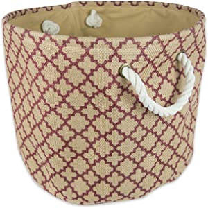 DII Collapsible Burlap Storage Basket or Bin with Durable Cotton Handles, Home Organizational Solution for Office, Bedroom, Closet, Toys, & Laundry (Small Round - 12x9