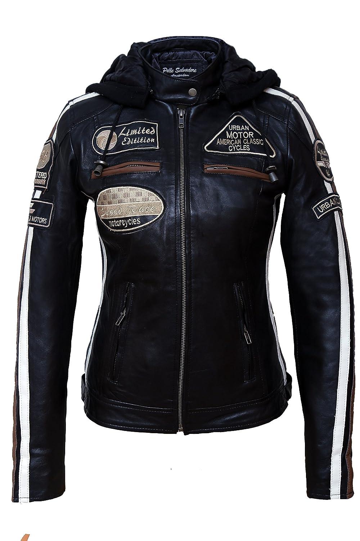 Urban Leather 58 Leren Bikerjack Chaqueta de Moto para Mujer Red Wax Rojo 52 // 5XL