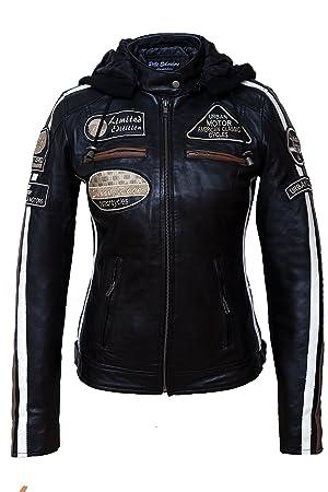 Urban Leather 58 Leren Bikerjack, Chaqueta de Moto para Mujer, Negro, 50 / 4XL