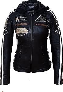 Chaqueta Moto Mujer de Cuero Urban Leather '58 LADIES' | Chaqueta Cuero Mujer | Cazadora Moto de Piel de Cordero | Armadura Removible para Espalda, Hombros y Codos Aprobada por la CE |Negro | 5XL