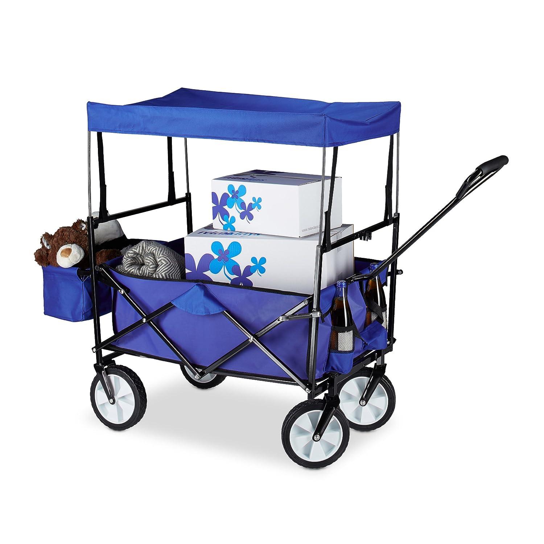 Relaxdays Bollerwagen faltbar, Sonnendach, Handwagen, 360 ° drehbar, extra Taschen, H x T x B: ca. 55 x 83 x 51,5 cm, blau