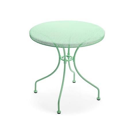 Qbo Table de Jardin Ronde en Fer Color Vert Eau avec Plan ...