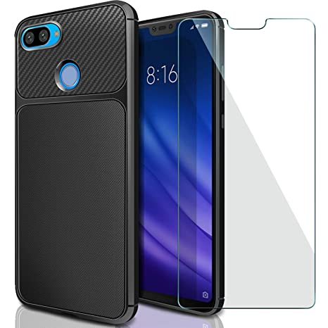 AROYI Funda Xiaomi Mi 8 Lite + Cristal Templado, Carcasa Mi 8 Lite & Protector de Pantalla 9H Dureza + Soft TPU Silicone Back Protective Case Cover ...