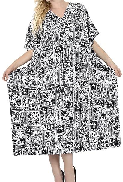 c29f27546 LA LEELA Mujeres caftán Algodón túnica Impreso Kimono Libre tamaño Largo  Maxi Vestido de Fiesta para