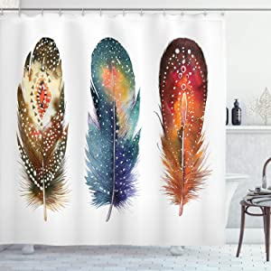 Ambesonne Asian Shower Curtain, Feathers with Ornament Ceremonial Esoteric Inspired Design Print, Cloth Fabric Bathroom Decor Set with Hooks, 84