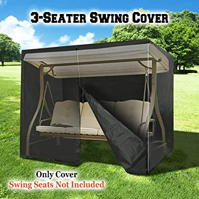 BenefitUSA 3 Triple Seater Swing Cover Outdoor Furniture Porch Protective Protector (Black) : Garden & Outdoor