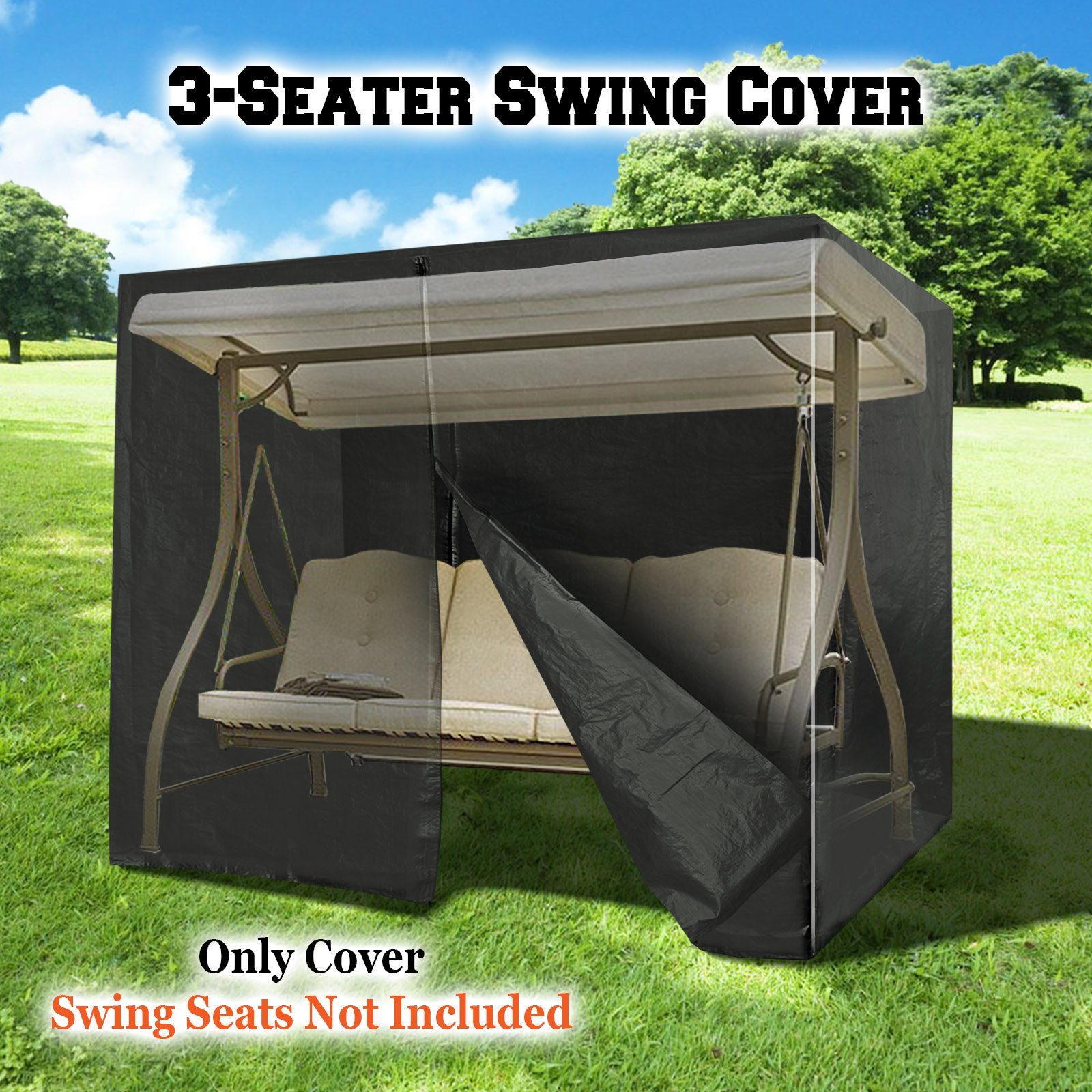 BenefitUSA 3 Triple Seater Swing Cover Outdoor Furniture Porch Protective Protector (Black) by BenefitUSA