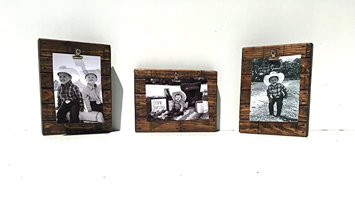Rustic Photo Holder Set Free Shipping Pallet Style Picture Frame Farmhouse