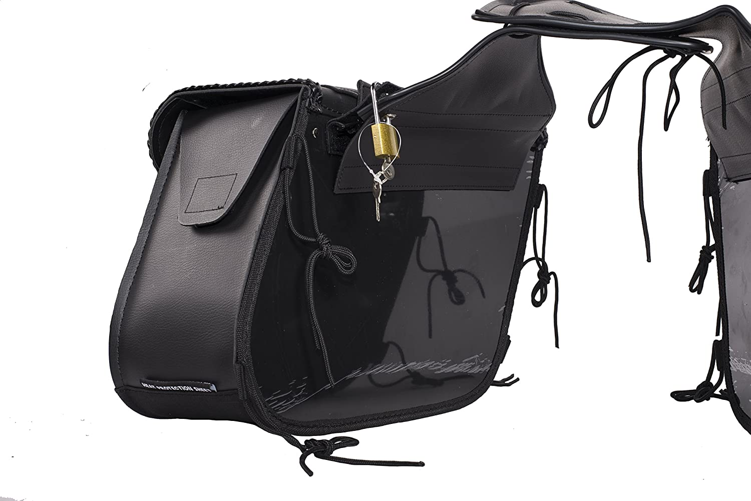 Dream Apparel Universal PVC Motorcycle Saddlebag With Heavy Duty Quick Release SD4065