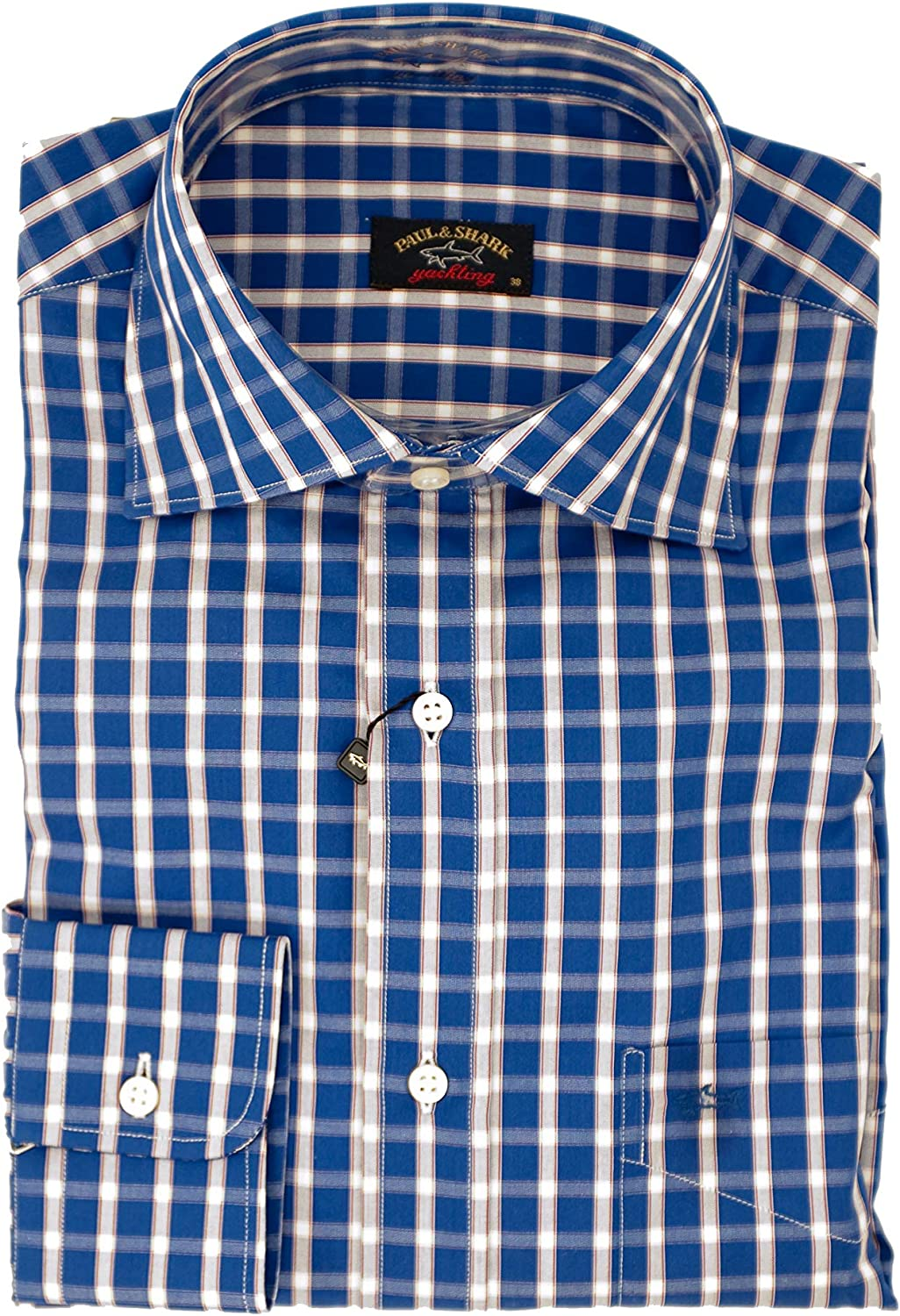 PAUL & SHARK Camisa Regular Fit BLU A Quadri 38: Amazon.es: Ropa y accesorios