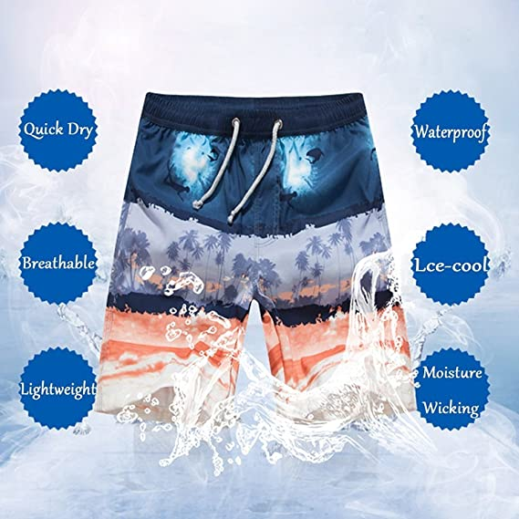 74322ddd25d5b Amazon.com: Gxcvsddgtrhgdq Colourful Wolf Men's Swim Trunks 3D Printing  Convenient Cargo Shorts: Clothing