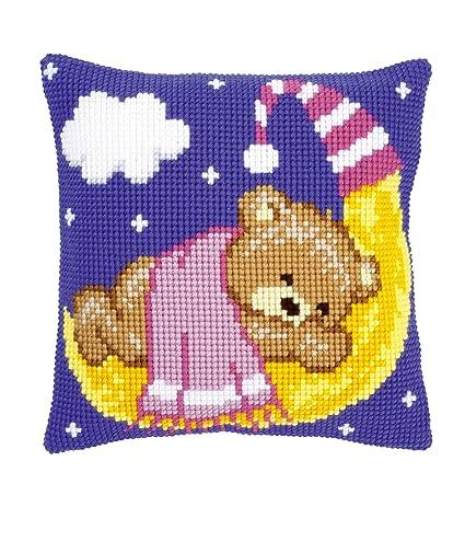 Amazon.com: Cojín de punto de cruz: Teddy en la luna: rosa ...