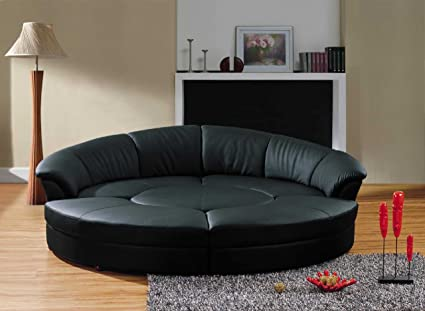Amazon.com: Vig Furniture Modern Black Leather Circular Sectional ...