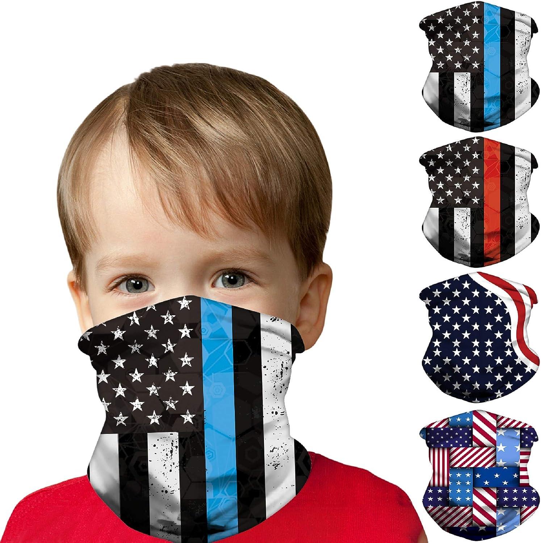 Mural Wall Art Kids Face Mask Bandanas [4 Pack], Full-Coverage Tube Bandana UV Protection Neck Gaiter Headband for 3-12 Years Boys Girls (The American Flag): Clothing