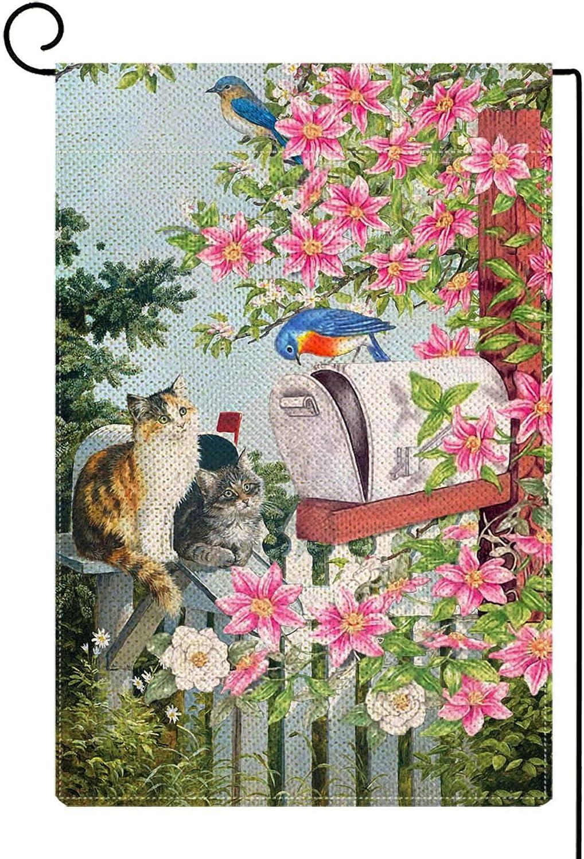Baccessor Spring Cat Lily Garden Flag Double Sized Bluebirds Kitties Flowers Farmhouse Yard Garden Flag Vertical Burlap Outdoor Rustic Vintage Spring Summer Seasonal Decoration 12.5x18 inch