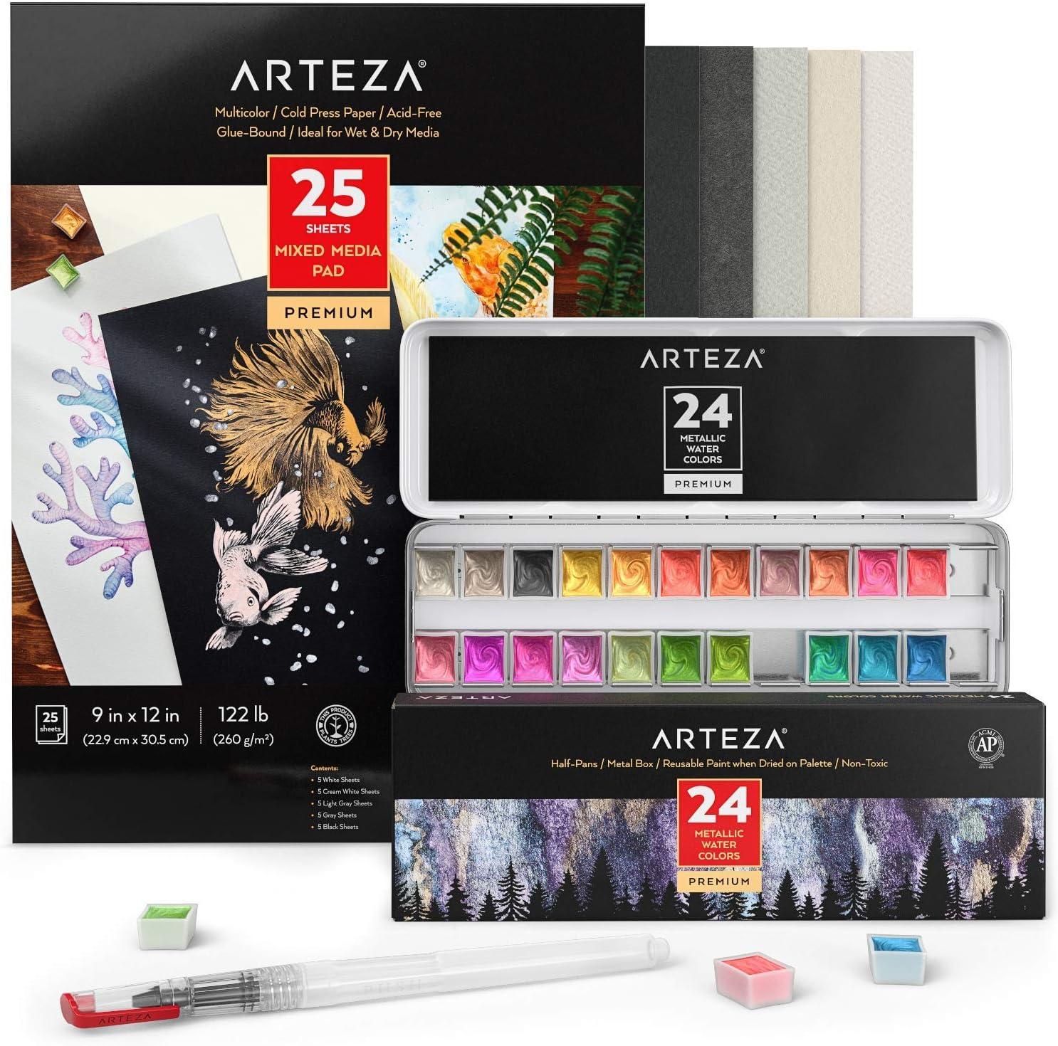 Arteza Metallic Watercolor Paint Art Set, Bundle of 24 Half-Pans, Water Brush Pen & Colored Watercolor Pad (25 Sheets, 5 Shades of Toned Watercolor Paper), Art Supplies for Watercolor