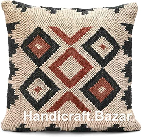 "18/"" Throw Rustic Pillow Case Turkish Wool Jute Handknotted Cushion Cover Kilim"