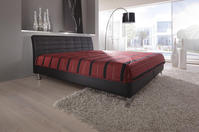 Modern Living -( KT4 ) Polsterbett. Es steht bodenfrei auf ca. 10 cm hohen Chromfüßen. Mit Bettkasten. Ausführung B: Lose aufliegende 7-Zonen-Kaltschaummatratze(Härtegrad 2). Größe: 160x200 cm