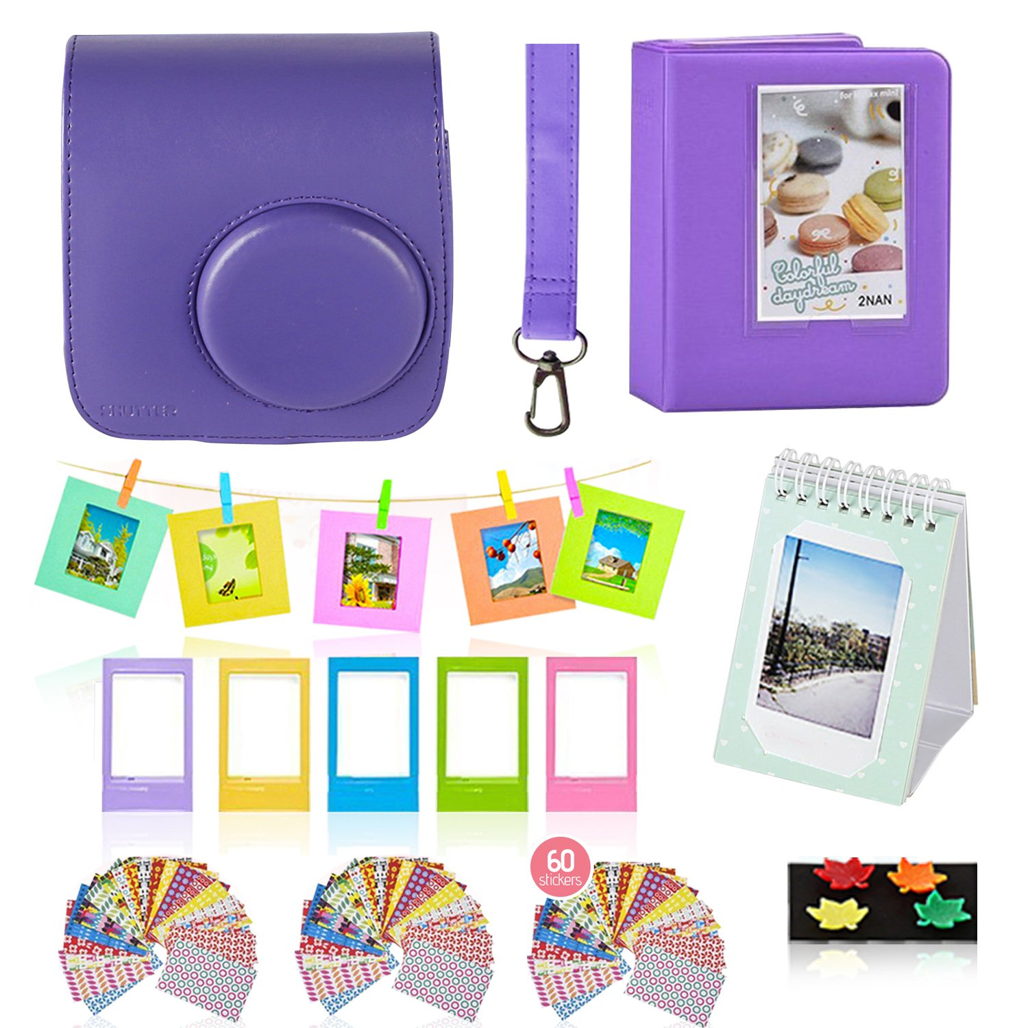 Polaroid Accessories. Polaroid Camera PIC-300 Instant Film Bundle, 9 PC Kit Includes: Polaroid Case + Strap + Photo Album + Standing Album + Wall Hanging Frames + 60 Stickers + 5 Frames, + Gift Set.