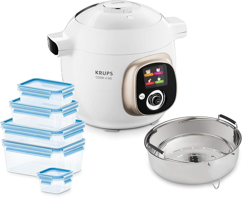 Krups CZ7001.GO Cook4Me - Robot de cocina (incluye 5 recipientes Emsa Clip&Close y accesorio para cocinar al vapor, capacidad de 6 litros, 50 recetas preinstaladas, 1200 W), color blanco y gris: Amazon.es: Hogar