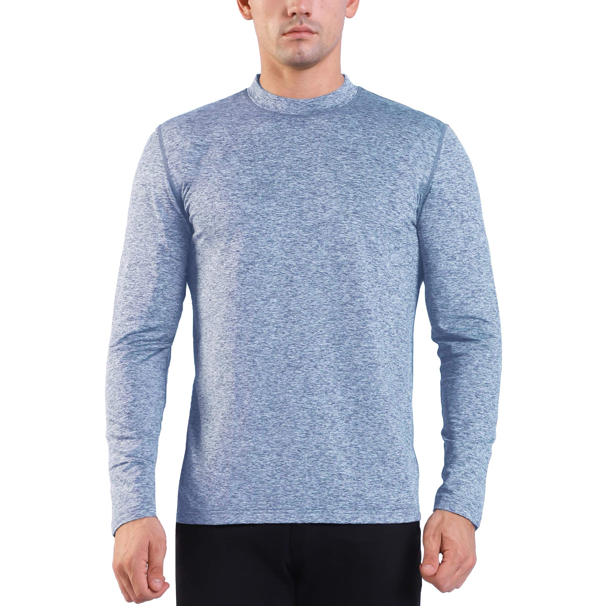 Ogeenier Men's Fleece Thermal Top Mock Long Sleeve Athletic T-Shirt,Heather Blue,XL by Ogeenier