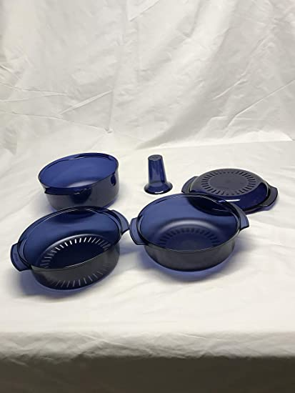 Tupperware Microwave Stack Cooker 7pc Cooking Set New Nocturnal Sea Blue