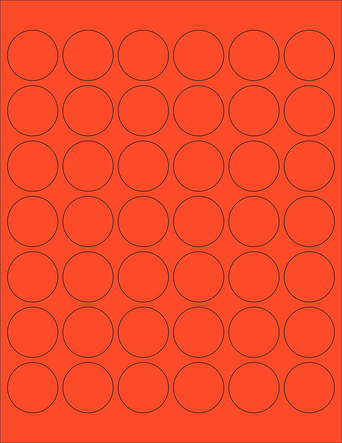 amazoncom chromalabel 1 14 inch round labels for laser inkjet printers 1 050pack fluorescent red orange office products