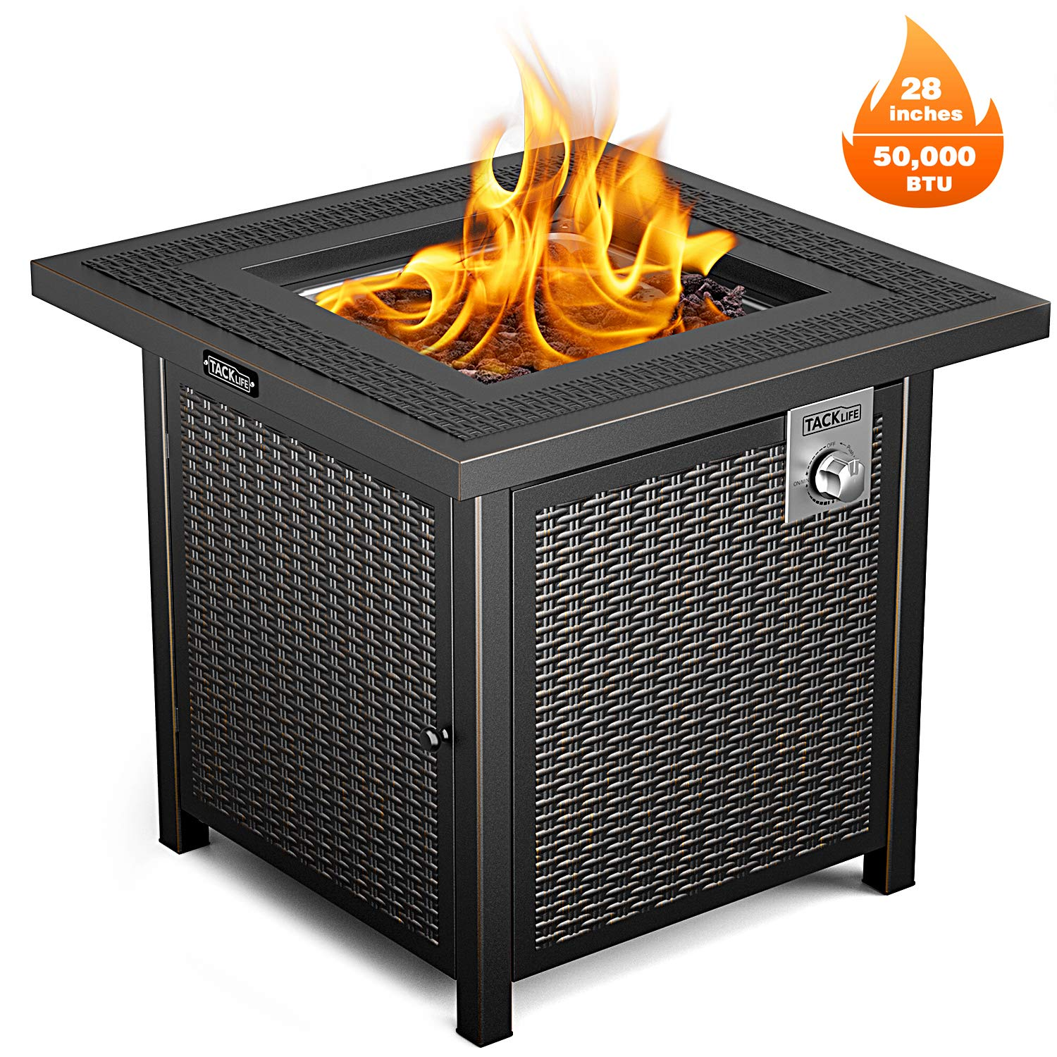 TACKLIFE Propane Fire Pit Table, Outdoor Companion, 28 Inch 50,000 BTU Auto-Ignition Gas Fire Pit Table with Cover, CSA Certification and Strong Striped Steel Surface, by TACKLIFE