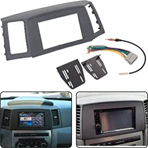ECOTRIC Double Din Navigation Radio Bezel Dash Install Kit W/with Wiring Harness & Antenna Adapter Gray for 05 06 07 Jeep Grand Cherokee