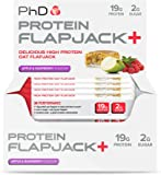 PhD Nutrition High Protein Flapjack+ Bars, Apple and Raspberry, 75 g, Pack of 12
