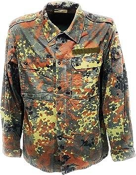 Flecktarn. Camisa militar de hombre alemana con bolsillos originales, botones y cremallera, multicolor, Small: Amazon.es: Deportes y aire libre