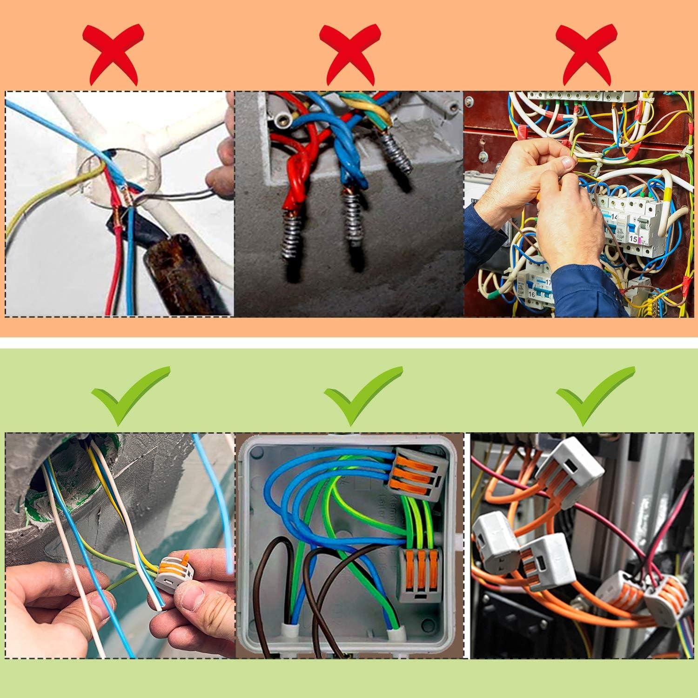 10 Stk PCT-213 PCT-212 30 Stk 5-Wege-Klemme iTrunk 60 Stk 2-Wege-Klemme PCT-215) 3-Wege-Klemme Elektrische Verbinderbl/öcke 20 Stk Kompaktdrahtverbinder mit Federdruckhebel