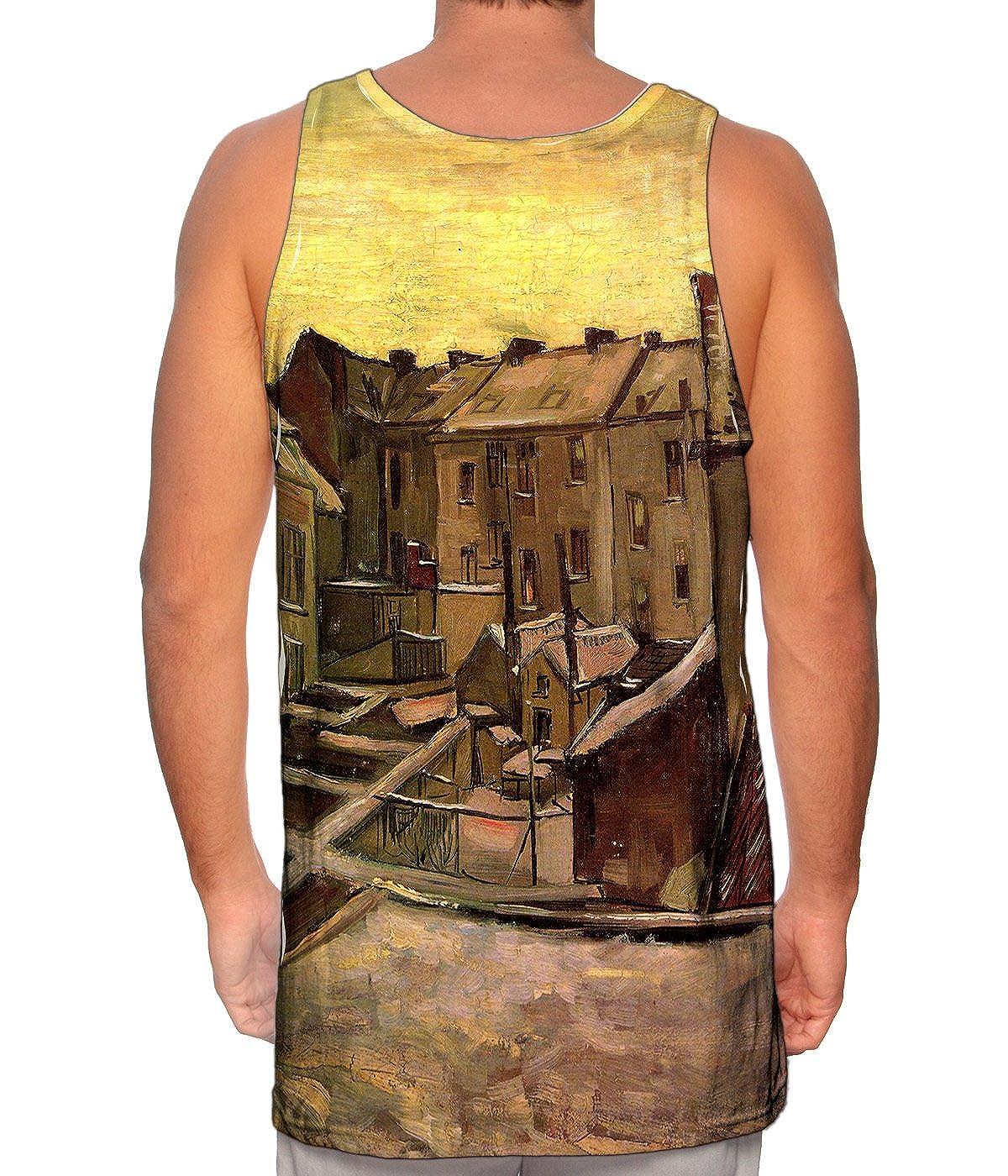 1885 Van Gogh Mens Tank Top Backyard of Old Houses -TShirt Yizzam