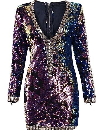 Miss Water Pailletten-Kleider-Langarm Sequin Dress Club-Kleid-Sexy ...