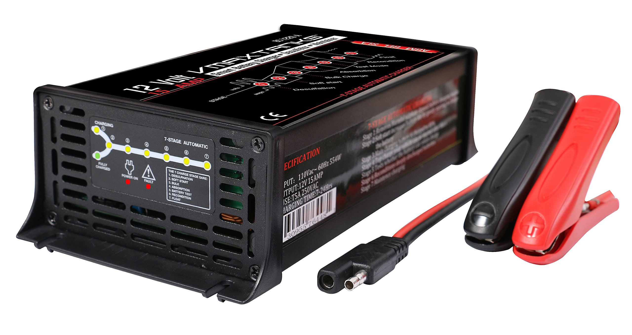 VMAX 15Amp 7-Stage 12-Volt Microprocessor Controlled Fully Automatic''Smart'' Battery Charger/Tender/ Maintainer for Boat Marine 12V Battery
