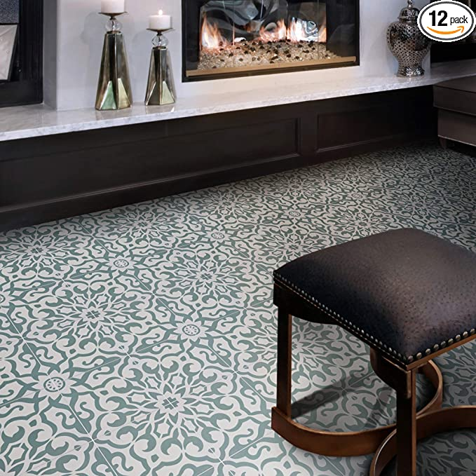 Moroccan Handmade Cement Tile 8inch x 8 inch Floor /& Wall Meknes Green and White Encaustic tile