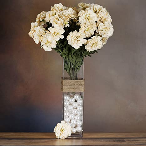 Tableclothsfactory 4 Bushes California Zinnia Artificial Wedding Craft Flowers Champagne Home Kitchen