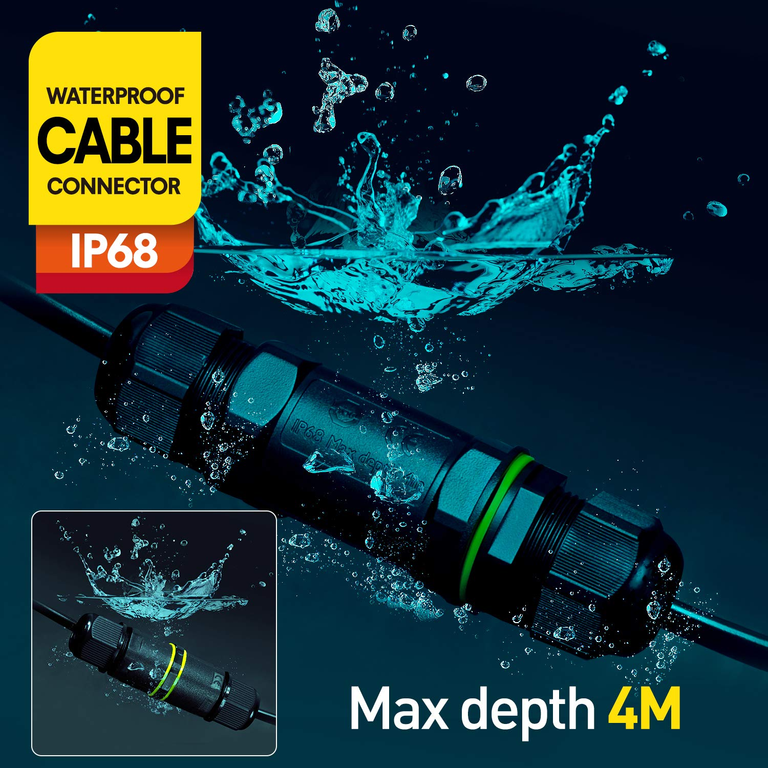 Waterproof Junction Box IP68 Wire Connectors Outdoor Compact Cable Connector Electrical for 4mm-14mm Diameter Cable,Pack of 2