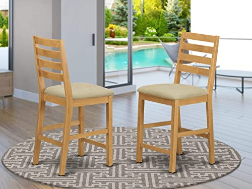 East West Furniture CFS-OAK-C Stunning counter height chairs Linen Fabric Seat and OAK Hardwood Structure kitchen counter height Chairs set of 2