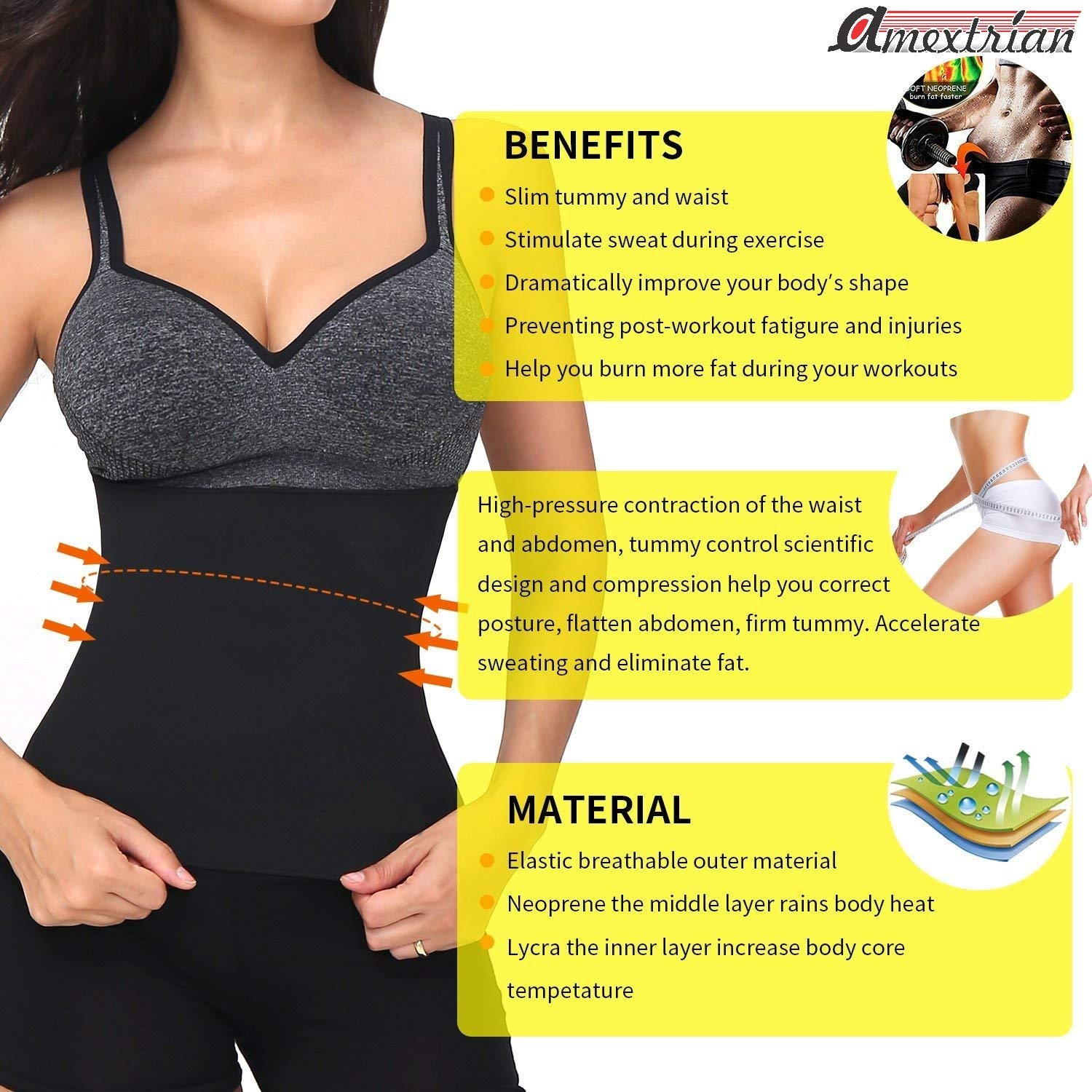 09c0240bb4 Amextrian Slimming Belt Waist Shaper