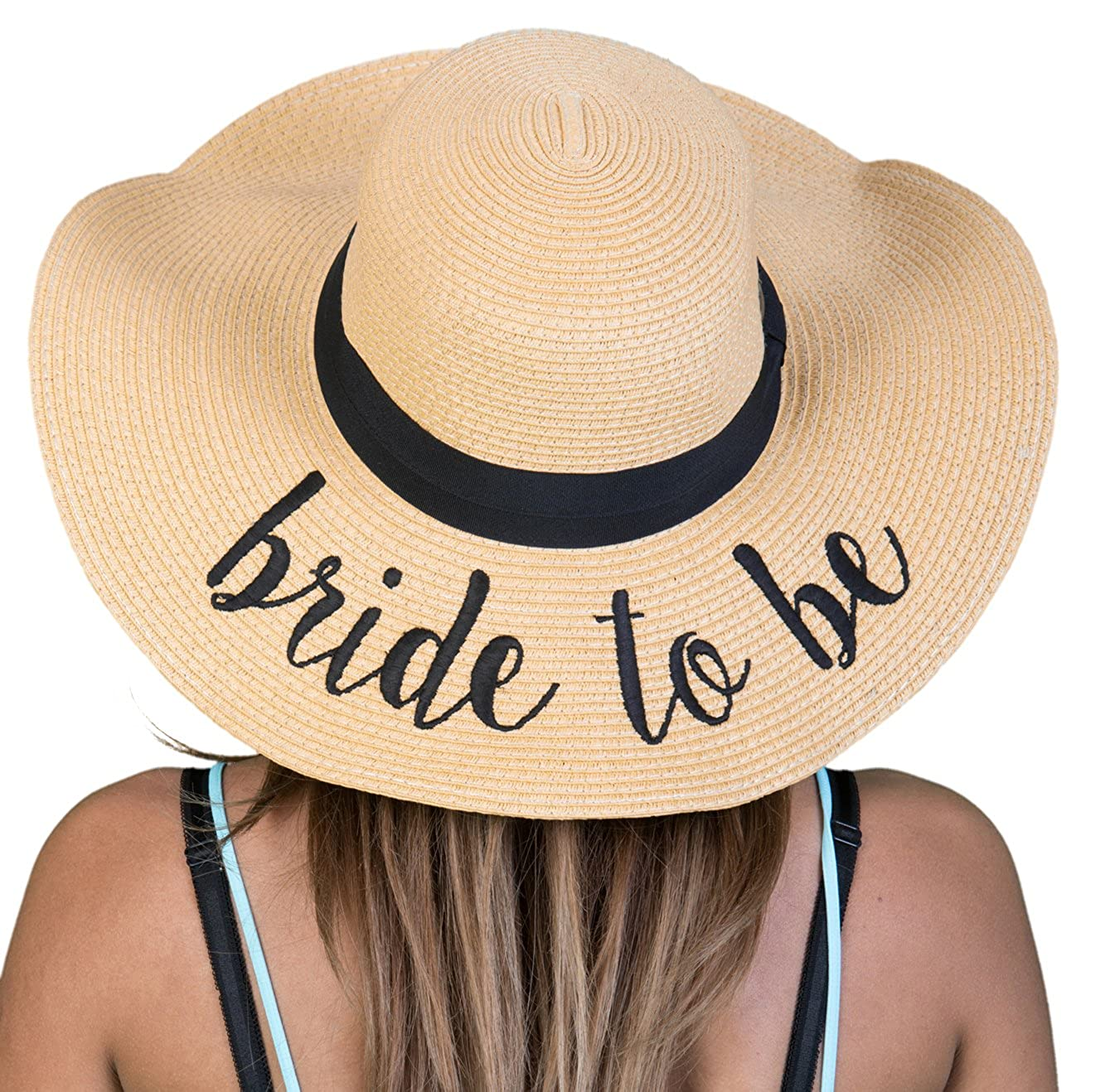 1 Bride to Be Funky Junque Women's Bold Cursive Embroidered Adjustable Beach Floppy Sun Hat