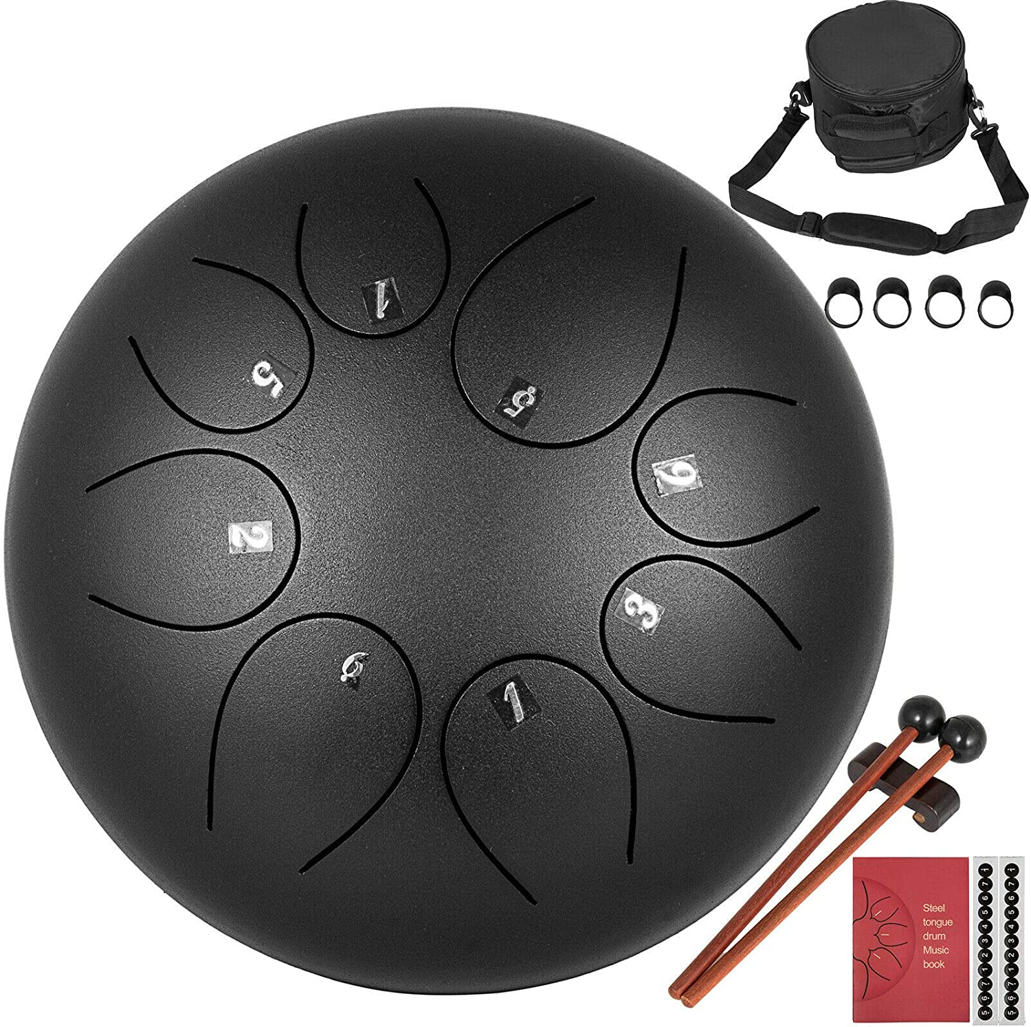 BuoQua Steel Tongue Drum 8 Notes 8 Inches Handpan Steel Drum Black Handpan Drum Hand Drums Percussion Instrument with Bag