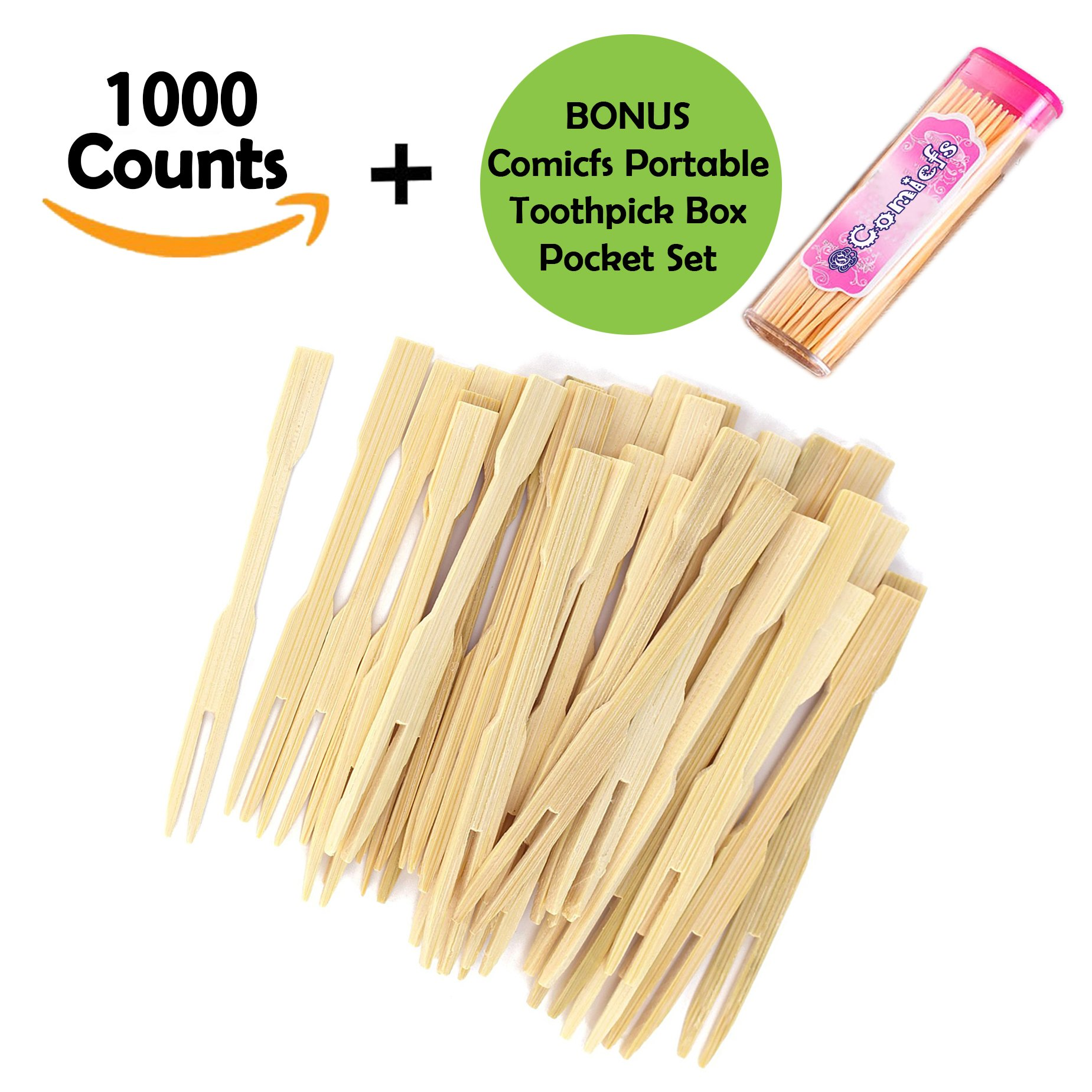 Comicfs 3.5'' Bamboo Fruit Picks/Mini Cocktail Forks/Party Forks/Buffet Mini Forks 1000 Counts BONUS Comicfs Portable Toothpick Box Pocket Set