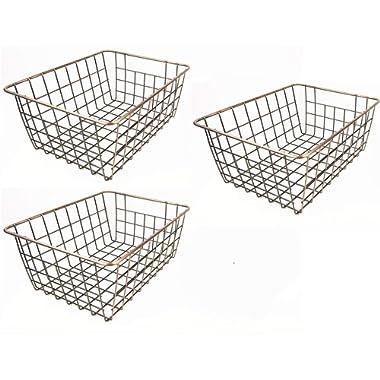 SINARDO Wire Storage Basket Organizer Bin Baskets for Kithen Cabinets Freezer Bedroom Bathroom (3, bronze)