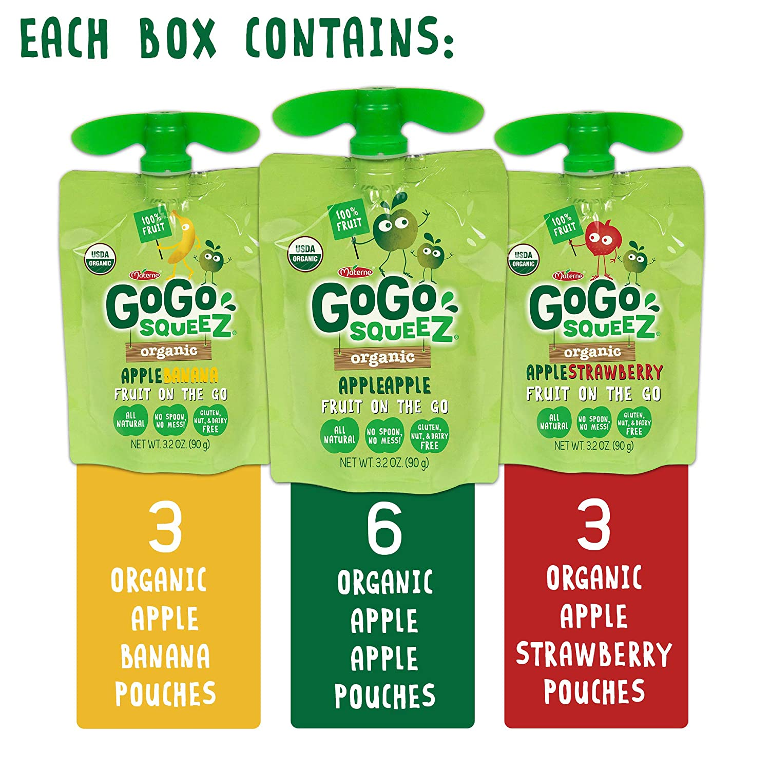 GoGo SqueeZ Organic Applesauce on the Go, paquete variado ...