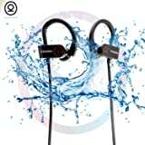 CHKOKKO Mercury M2 bluetooth earphones wireless Headset Headphones with Bass, Secure Fit Bluetooth V4.1, Waterproof IPX 5 Technology, Latest Chipset CSR 8645 and CVC 6.0 Noise Cancellation With 8 Hrs Playtime Built in Mic Ergonomic Designed Ear Hooks, Black