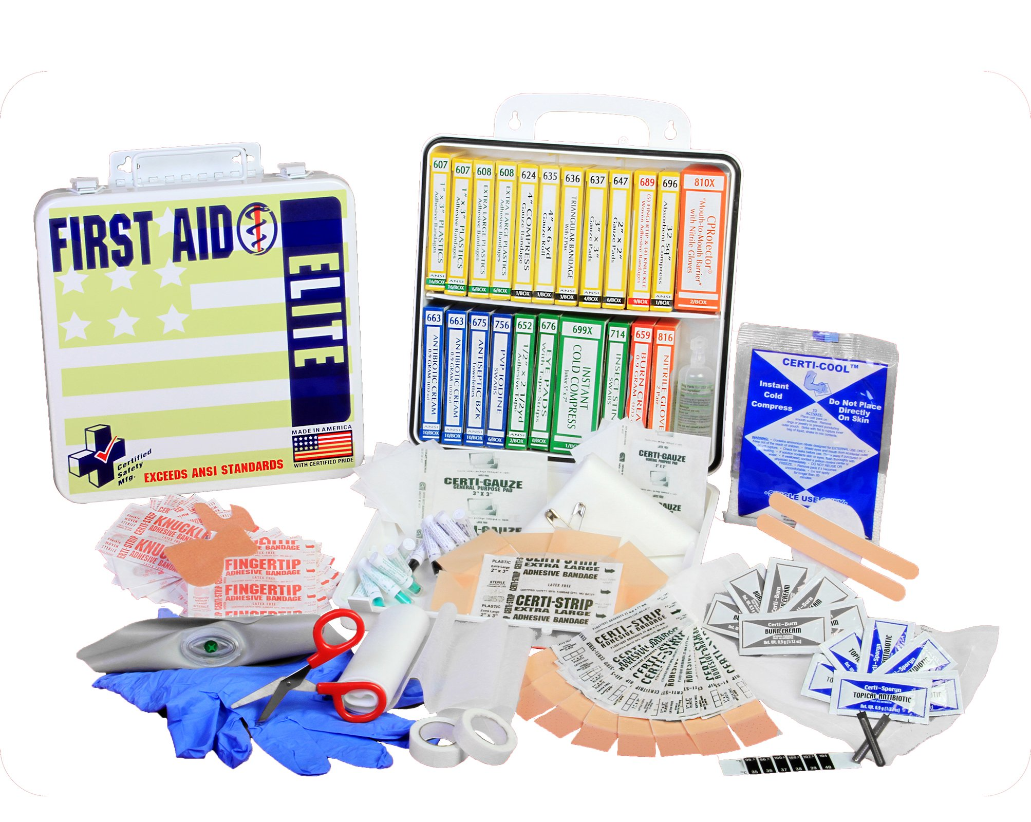 Certified Safety K201-249 24PW ANSI Elite First Aid Kit in Poly White